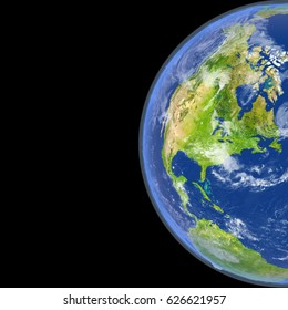 Satellite view of North America on planet Earth. 3D illustration with detailed planet surface. Elements of this image furnished by NASA.