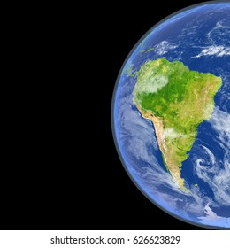 Satellite view of South America on planet Earth. 3D illustration with detailed planet surface. Elements of this image furnished by NASA.
