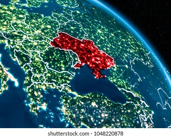 Satellite view of Ukraine highlighted in red on planet Earth at night with borderlines and city lights. 3D illustration. Elements of this image furnished by NASA.