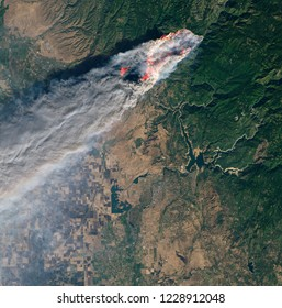 Satellite view of the wildfires in Paradise, California.Elements of this image furnished by NASA.
