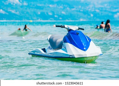 sater scooter in the sea. Active rest, entertainment, attraction on the water surface .Jet Ski Riding