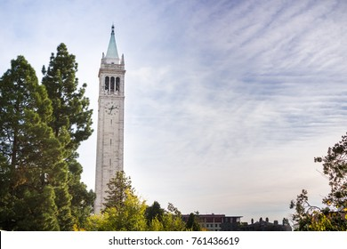 Sather tower (the Campanile) on a cloudy sky background, UC Berkeley, California, San Francisco bay