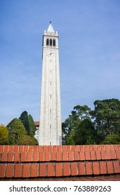 Sather tower (the Campanile) on a blue sky background, Berkeley, San Francisco bay area, California