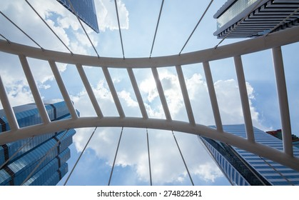 Sathorn Bridge in the daytime sky with clouds downtown Bangkok, Thailand.