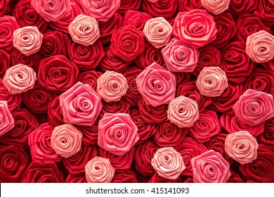 Satin atlas ribbon red and pink roses pattern background