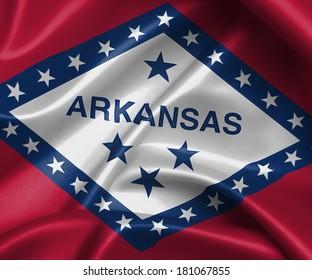Satin flag, three dimensional render, flag of Arkansas