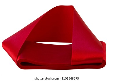 Satin ribbon bright red color, laid flat roll on a white background, the end of the ribbon is folded inside the roll.