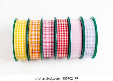 satin ribbon rolls isolated on white background isolated