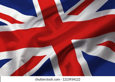Satin texture of curved flag of Great Britain