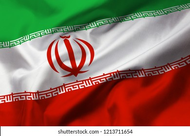 Satin texture of curved flag of Iran
