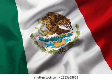 Satin texture of curved flag of Mexico