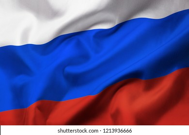 Satin texture of curved flag of Russia