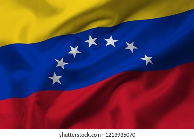 Satin texture of curved flag of Venezuela