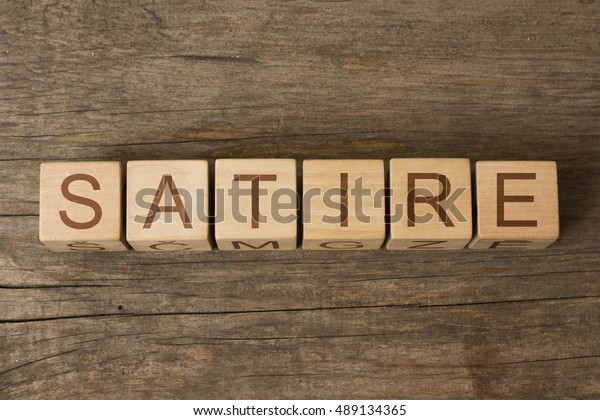 Satire Word On Wooden Cubes Stock Photo Edit Now 489134365