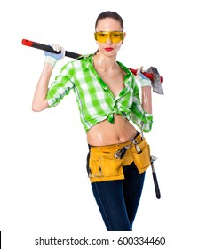 Satisfaction project. Sexy beautiful brunette girl holding an ax, isolated on white background