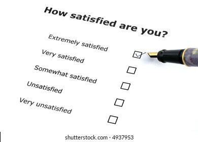satisfaction survey with a pen