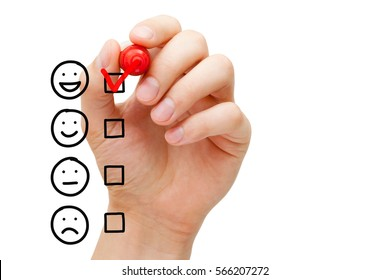 Satisfied customer putting red check mark on blank awesome quality service survey checklist next to drawn happy face.