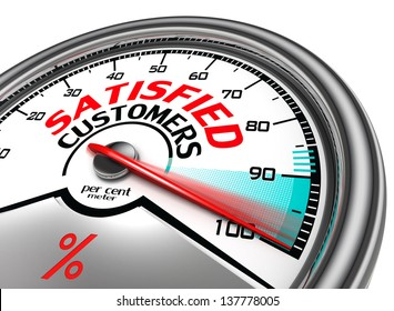satisfied customers conceptual meter indicating hundred percent, isolated on white background