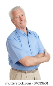 Satisfied happy senior man looking at camera isolated on white background
