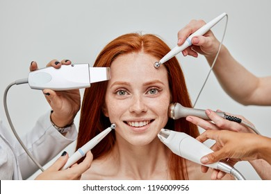 Satisfied well groomed caucasian ginger woman with perfect skin being happy with a wide range of modern beauty procedures. Skin care.. Stimulation of the production of kalogen and elastin