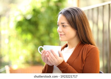 Satisfied woman drinking coffee looking away in a garden at home