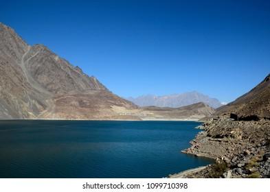 Satpara Lake, Skardu, Pakistan - October 2, 2016: Satpara Lake is a natural lake in Gilgit-Baltistan province which supplies water to Skardu Valley. It is fed by the Satpara Stream.