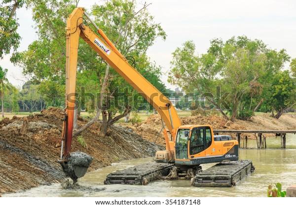 Sattahip Chonburi Dec22 Dirty Backhoe Working Stock Photo