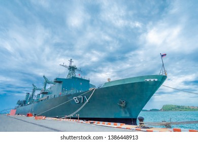 SATTAHIP, THAILAND - MAY 1 2019: HTMS Chakri Naruebet aircraft carrier at Juksamet Port on Feb 9 in Sattahip. The port is one of the few deep-water ports of Thailand for Naval base and commercial ship