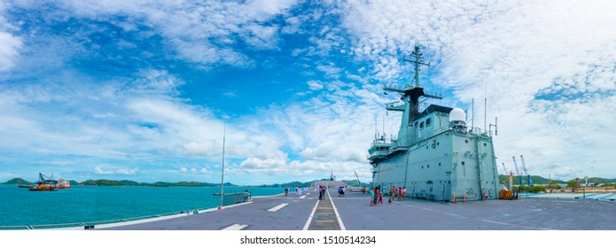 sattahip,chonburi,Thailand,August 2019;Panoramic view Chakri Naruebet (CVH-911) of the Royal Thai Navy at Sattahip Naval Base, Chonburi Thailand.Tourist attraction in pattaya.Landmark in Sattahip.