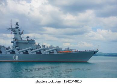 Sattahip,Chonburi,Thailand,October 2019;Russian cruiser Varyag (011)  arrived at Chuk Samet Sattahip naval base for exercise with The Royal thai navy.