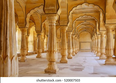 Sattais Katcheri Hall in Amber Fort near Jaipur, Rajasthan, India. Amber Fort is the main tourist attraction in the Jaipur area.