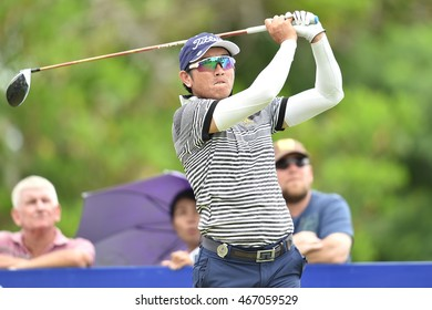 Sattaya Supupramai of Thailand  plays a shot during round three of the King's Cup at Phoenix Gold Golf and Country Club on July 30, 2016 in Pattaya, Thailand