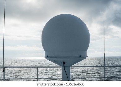 Sattelite communication VSAT antenna on the top monkey deck. Vessel connection and internet