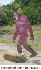 SATTLER, TEXAS: MARCH 31, 2018-A Bigfoot or Sasquatch Lifelike Sign on the side of the road near Canyon Lake
