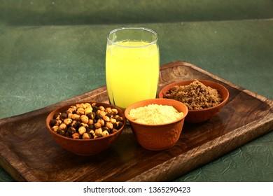 Sattu Summer Drink - prepared by dry roasting grains or grams, mainly barley, suger, salt & water