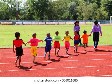 Satun province, Thailand, on 13 August 2015 :  small boys. Marched down the field in athletics, student of the year. School in Satun Thailand. (  open to the public visits and photography for free. )