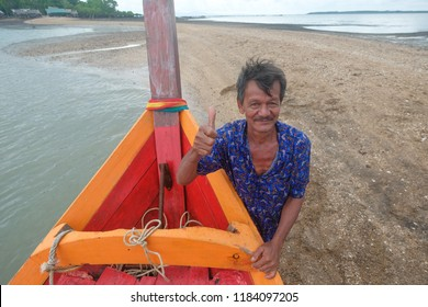 SATUN, THAILAND 7 SEPT, 2018 - Portrait of fisherman at fishing village in Satun, Thailand. Satun is country's' southern province popular with tourism attraction.