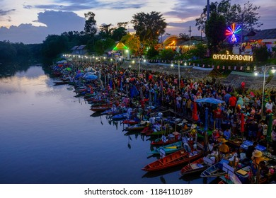 SATUN, THAILAND 7 SEPT, 2018 - Sunset view from the bridge at Khlong Hae Floating Market in Hatyai. Market is open on Friday to Sunday every week.