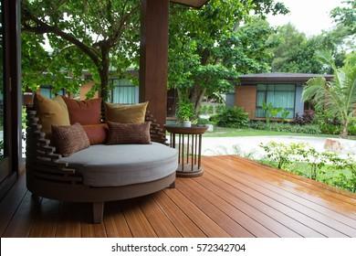 Satun, Thailand - November 1, 2014: Sofa on Terrace of Akira resort at Koh Lipe in Satun of Thailand. Akira is one of the biggest resort and hotel at Koh Lipe.