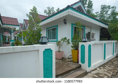 SATUN , THAILAND - SEPTEMBER 7, 2018: Small chalet operated as a guest house or homestay in fishing village of Tanjung Buri in Satun province, Thailand.