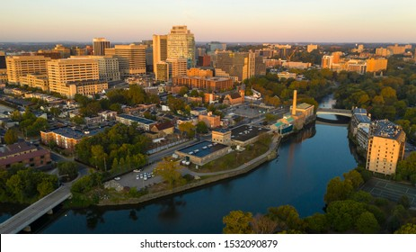 Saturated early morning light hits the buildings and architecture of downtown Wilmington Delaware