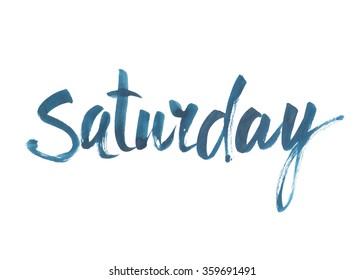 Saturday. Hand written brush typography. Isolated calligraphy design element