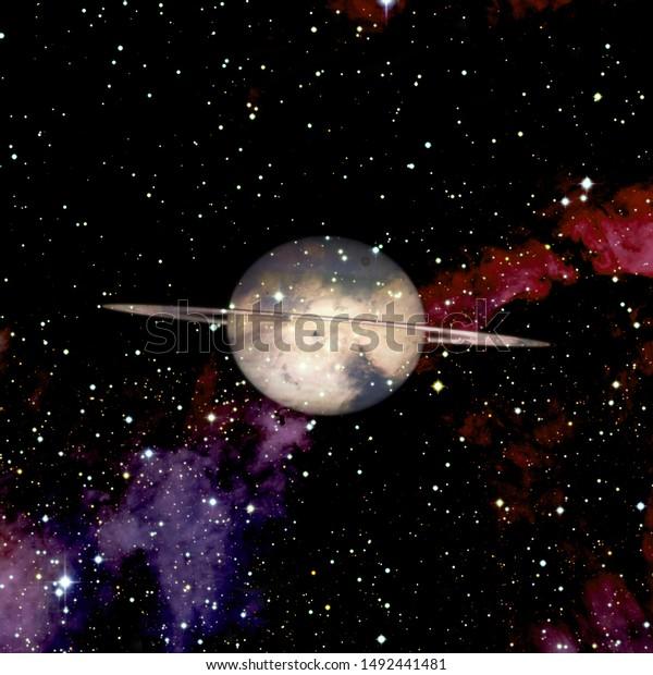 Saturn Planet Solar System Science Wallpaper Stock Photo