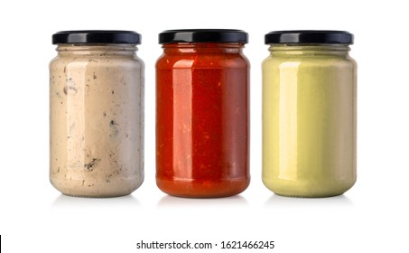 Sauce jars isolated on white background