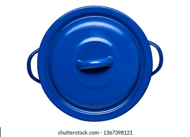 Sauce pot with two loop handles, Empty blue pot with lid, View from above isolated on white background with clipping path