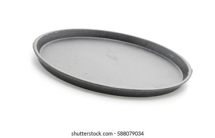 Saucepan (Hot plate) steak  on white background