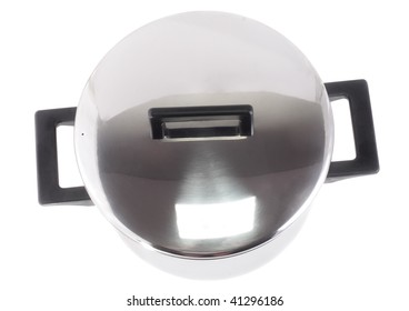 Saucepan (made of stainless stee) with cover, on white background.Top view.Isolated