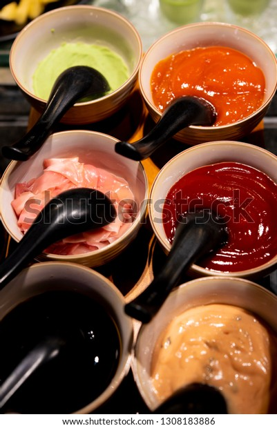 Sauces Soy Sauce Ketchup Chili Sauce Stock Photo Edit Now 1308183886