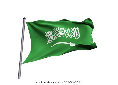 Saudi Arabia 3D flag waving on white background, close up, isolated with clipping path (Translation: There is no god but God, and Muhammad is the messenger of God)