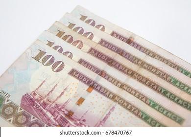 saudi arabia banknotes on white background
